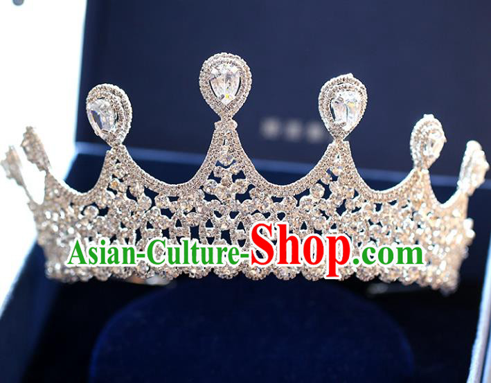 Chinese Traditional Wedding Hair Accessories Baroque Princess Hair Clasp Bride Palace Crystal Royal Crown for Women