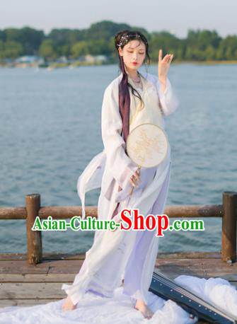 Traditional Chinese Ancient Fairy Bai Suzhen Hanfu Clothing Song Dynasty Palace Lady Embroidered Costume for Women