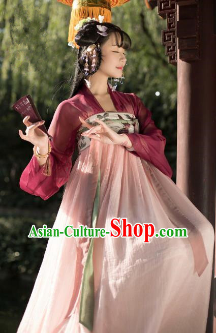 Traditional Chinese Ancient Palace Lady Hanfu Clothing Tang Dynasty Princess Embroidered Costume for Women