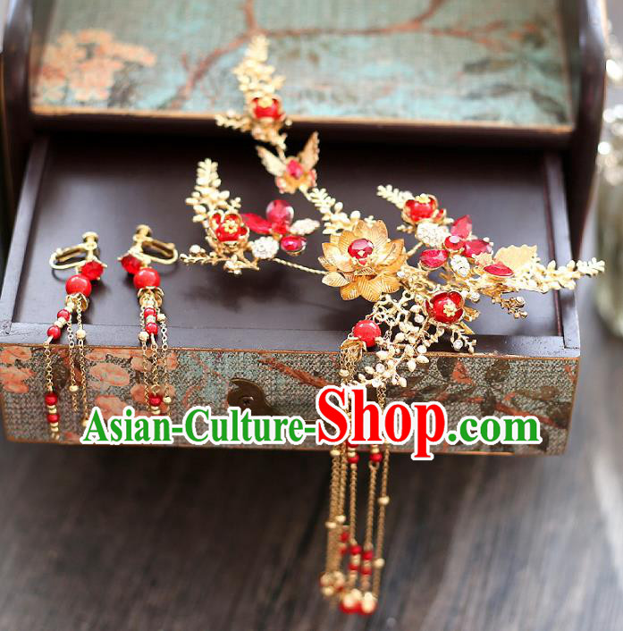 Chinese Traditional Bride Hair Accessories Xiuhe Suit Step Shake Wedding Hairpins and Earrings for Women