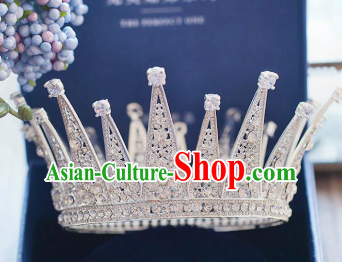 Chinese Traditional Wedding Hair Accessories Baroque Princess Crystal Hair Clasp Bride Palace Royal Crown for Women