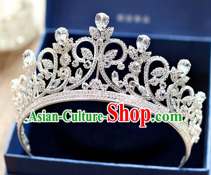 Chinese Traditional Wedding Hair Accessories Baroque Princess Hair Clasp Bride Crystal Royal Crown for Women