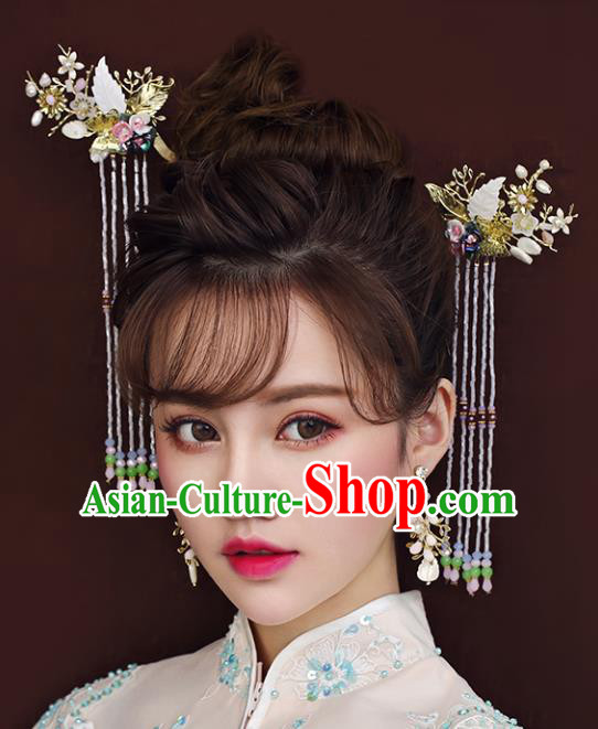 Chinese Traditional Bride Hair Accessories Xiuhe Suit Step Shake Wedding Tassel Hairpins Complete Set for Women
