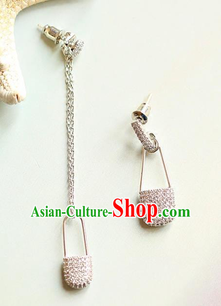 Chinese Traditional Bride Jewelry Accessories Crystal Lock Earrings Wedding Eardrop for Women