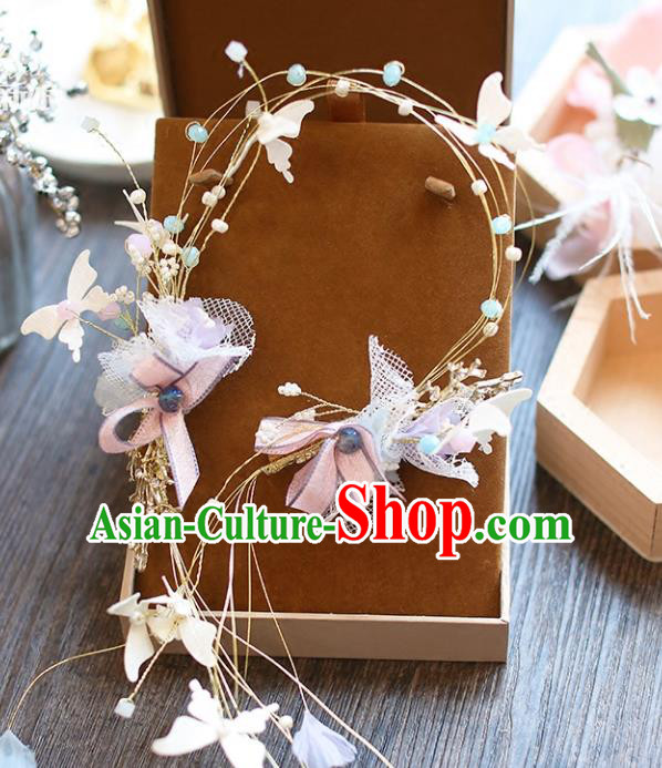 Chinese Traditional Bride Hair Accessories Baroque Wedding Flowers Hair Clasp Headband for Women