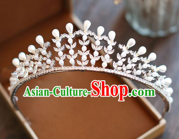 Chinese Traditional Wedding Hair Accessories Baroque Hair Clasp Bride Crystal Pearls Royal Crown for Women
