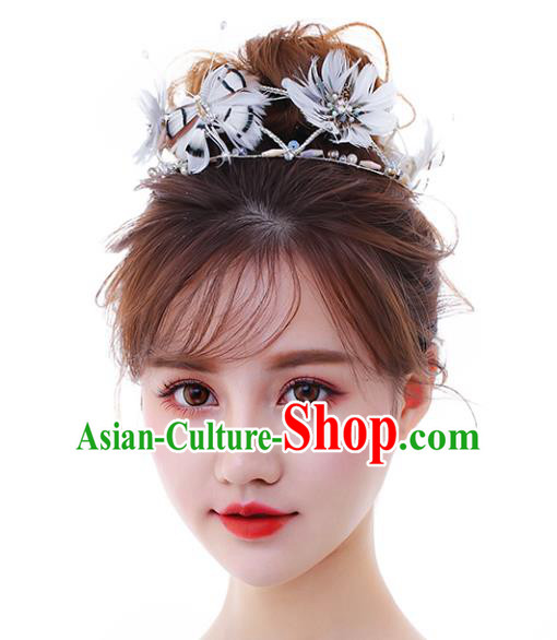 Chinese Traditional Bride Hair Accessories Baroque Princess Wedding White Feather Hair Clasp for Women