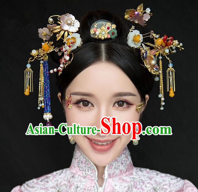 Chinese Traditional Bride Hair Accessories Xiuhe Suit Jade Hair Comb Wedding Hairpins Complete Set for Women