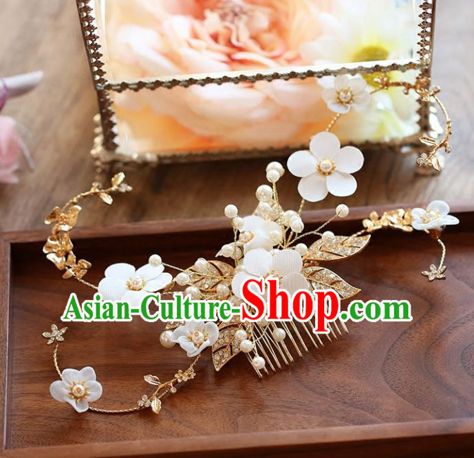 Chinese Traditional Bride Hair Accessories Baroque Princess Wedding Flowers Hair Comb for Women