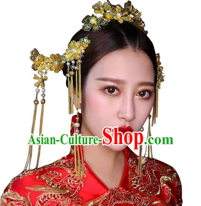 Chinese Traditional Bride Hair Accessories Xiuhe Suit Wedding Golden Step Shake Hairpins Complete Set for Women