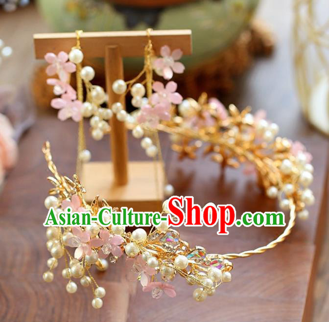 Chinese Traditional Bride Hair Accessories Baroque Princess Wedding Pink Flowers Pearls Hair Clasp for Women