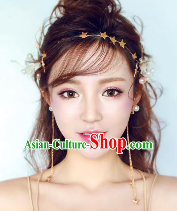 Chinese Traditional Bride Hair Accessories Baroque Princess Wedding Stars Headband Hair Clasp for Women