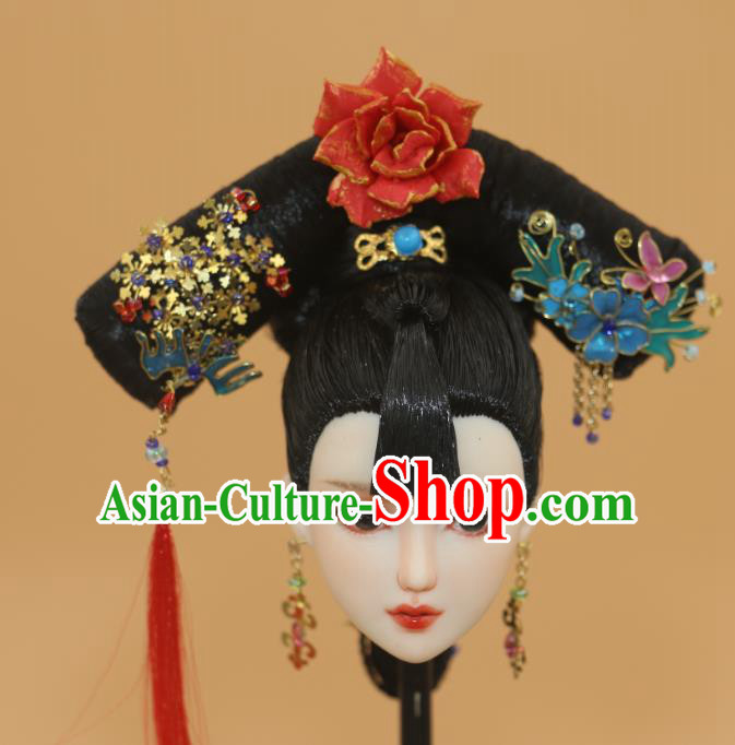 Chinese Traditional Silk Figurine Doll Hair Accessories Hairpins Qing Dynasty Manchu Lady Headwear