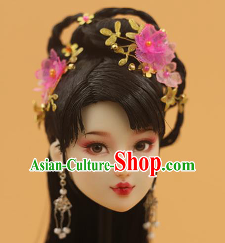 Chinese Traditional Silk Figurine Doll Hair Accessories Hairpins Ancient Princess Headwear