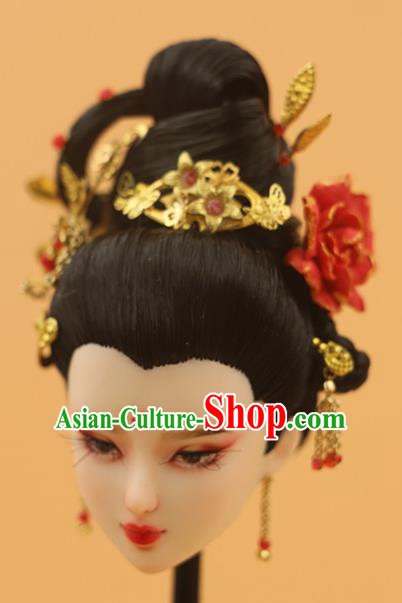 Chinese Traditional Silk Figurine Doll Hair Accessories Hairpins Ancient Imperial Concubine Headwear