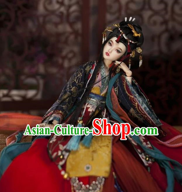 Chinese Traditional Silk Figurine Doll Hair Accessories Hairpins Ancient Tang Dynasty Princess Headwear