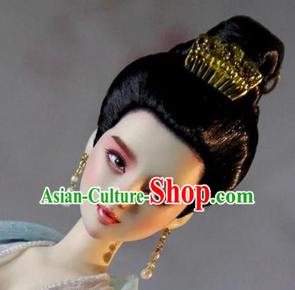 Chinese Traditional Silk Figurine Doll Hair Accessories Hairpins Tang Dynasty Princess Hair Comb Headwear