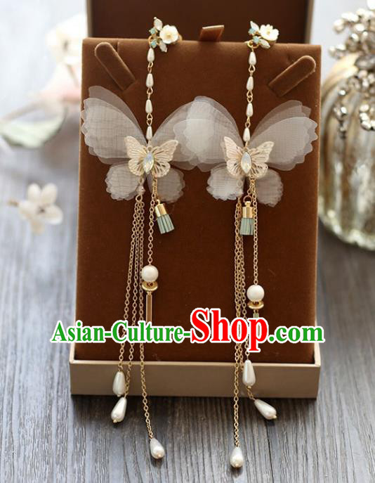 Chinese Traditional Bride Jewelry Accessories Butterfly Tassel Earrings Wedding Eardrop for Women