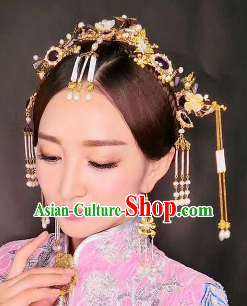 Chinese Traditional Bride Hair Accessories Xiuhe Suit Tassel Phoenix Coronet Wedding Step Shake Hairpins for Women