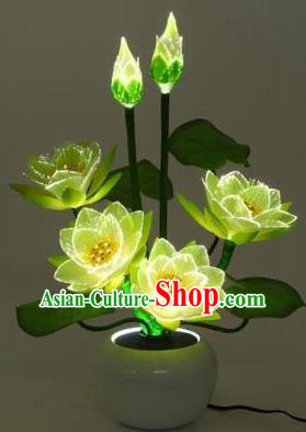 Chinese Traditional Electric LED Lotus Lantern Desk Lamp Buddhist Prayer Room Lights