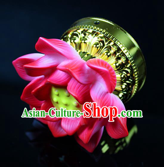 Chinese Traditional Electric LED Pink Lotus Lantern Desk Lamp Flowers Lights