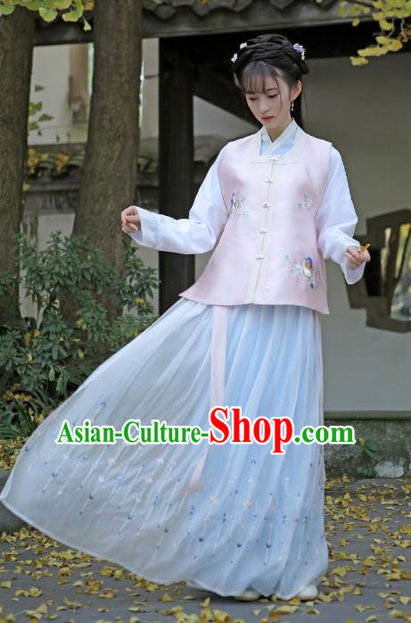 Traditional Chinese Ancient Princess Hanfu Clothing, China Ming Dynasty Palace Lady Embroidered Costume for Women