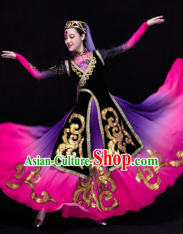 Traditional Chinese Uyghur Nationality Dance Costume, Chinese Uigurian Minority Nationality Dance Clothing for Women