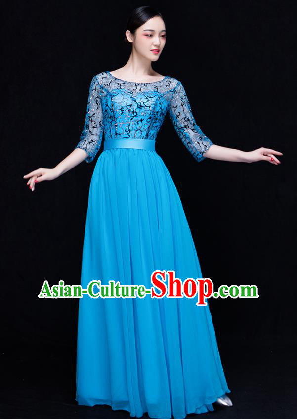 Traditional Chinese Modern Dance Costume Opening Dance Chorus Singing Group Blue Bubble Dress for Women