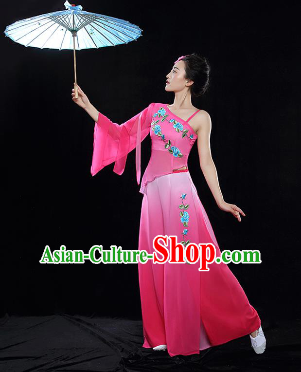 Traditional Chinese Classical Dance Fan Dance Embroidered Pink Costume, China Yangko Dance Clothing for Women