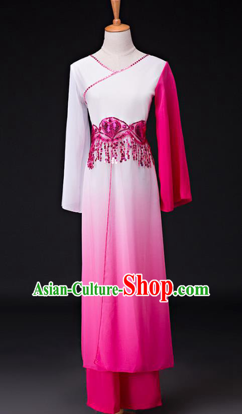 Traditional Chinese Classical Dance Costume, China Yangko Dance Fan Dance Hanfu Rosy Clothing for Women