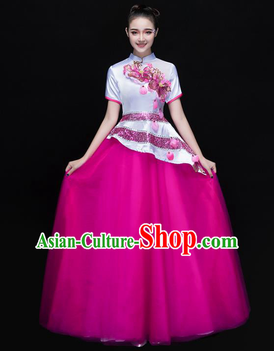 Traditional Chinese Modern Dance Costume, Opening Dance Chorus Singing Group Rosy Dress for Women