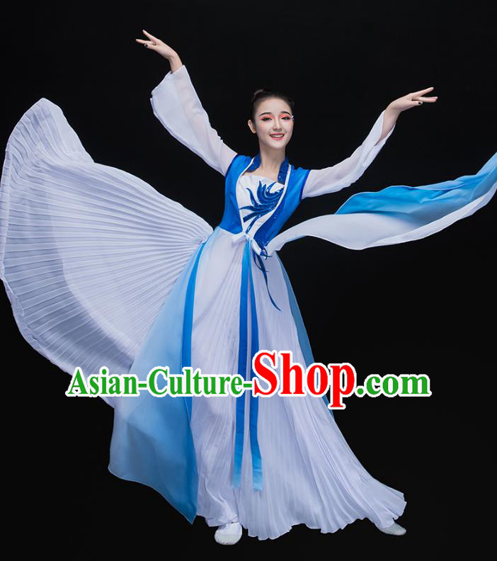 Traditional Chinese Classical Dance Embroidered Blue Costume, China Yangko Dance Dress Clothing for Women