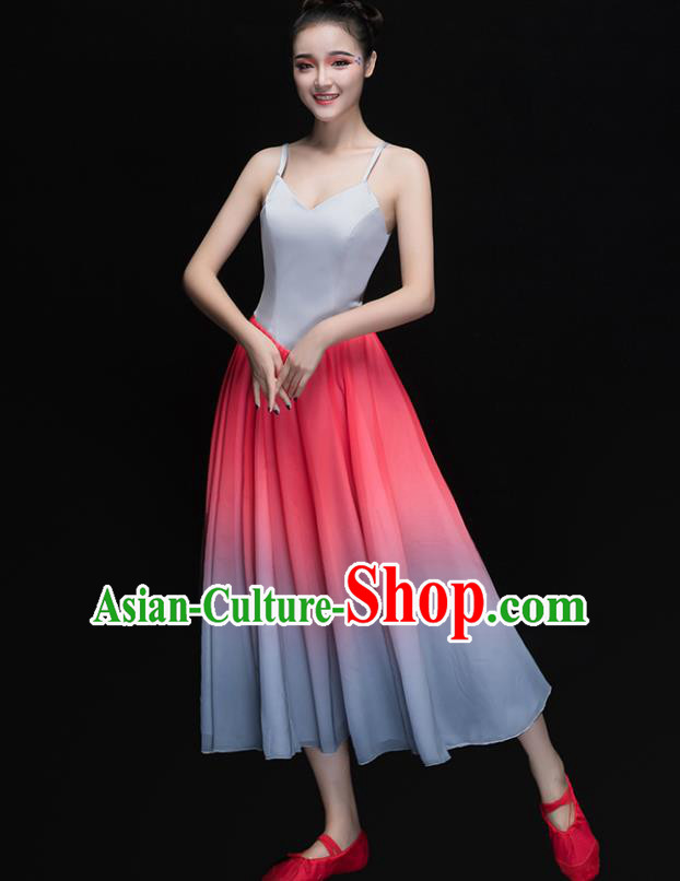 Traditional Chinese Modern Dance Costume, Opening Dance Chorus Singing Group Pink Dress for Women