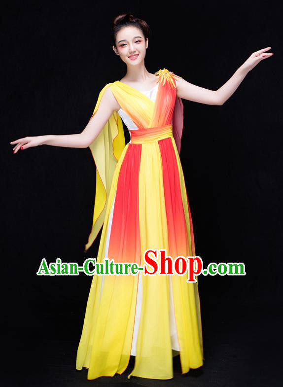 Traditional Chinese Modern Dance Costume, Opening Dance Chorus Singing Group Yellow Dress for Women
