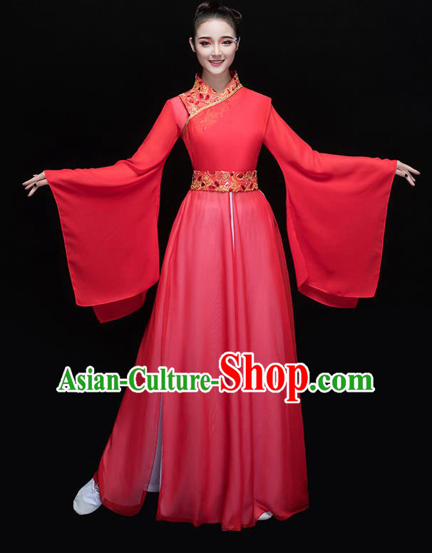 Traditional Chinese Classical Yangge Dance Embroidered Red Costume, China Yangko Dance Dress Clothing for Women