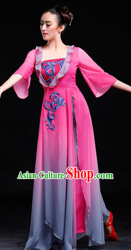 Traditional Chinese Classical Yangge Dance Embroidered Costume, China Yangko Dance Rosy Dress Clothing for Women