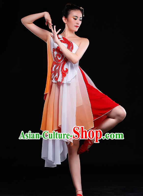 Traditional Chinese Classical Umbrella Dance Orange Costume, China Yangko Dance Clothing for Women