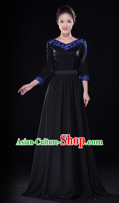 Traditional Chinese Modern Dance Costume, Opening Dance Chorus Singing Group Black Dress Clothing for Women