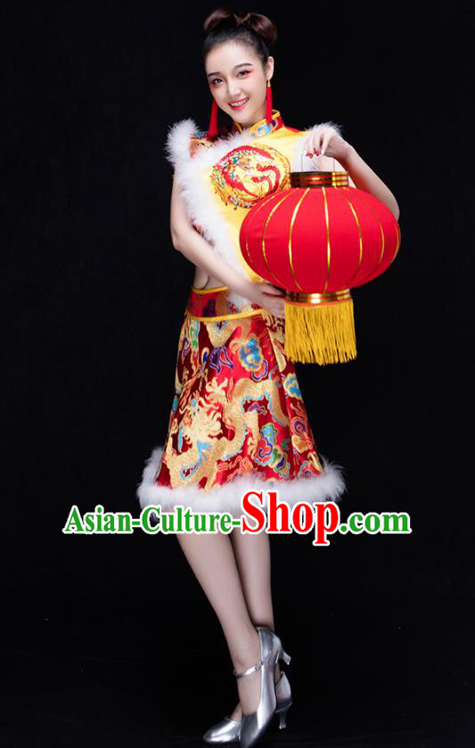 Traditional Chinese Classical Drum Dance Embroidered Costume, China Folk Dance Yangko Clothing for Women