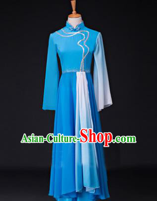 Traditional Chinese Classical Lotus Dance Costume, China Yangko Dance Blue Clothing for Women