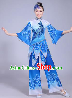 Traditional Chinese Classical Umbrella Dance Costume, China Yangko Folk Dance Blue Clothing for Women