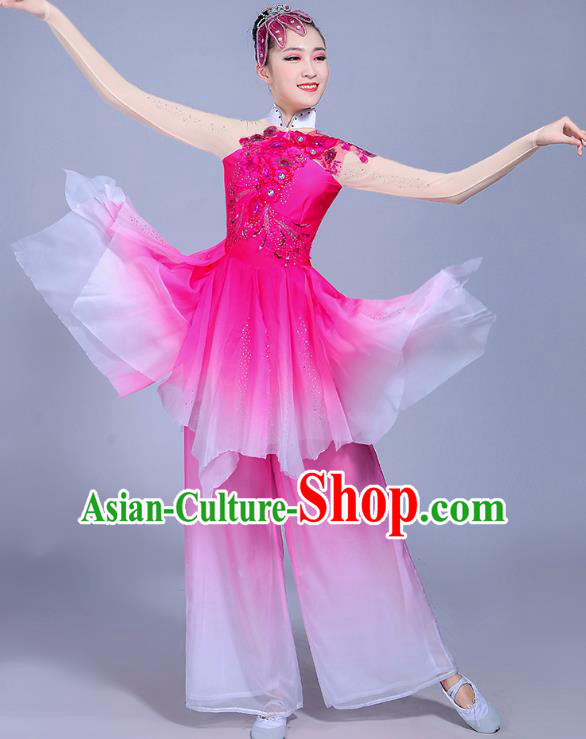 Traditional Chinese Classical Umbrella Dance Costume, China Yangko Folk Dance Yangge Clothing for Women