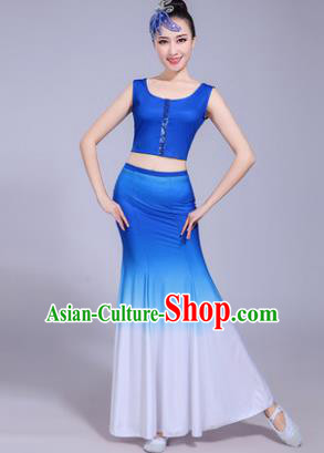 Traditional Chinese Dai Nationality Peacock Dance Blue Costume, China Folk Dance Pavane Dance Dress Clothing for Women