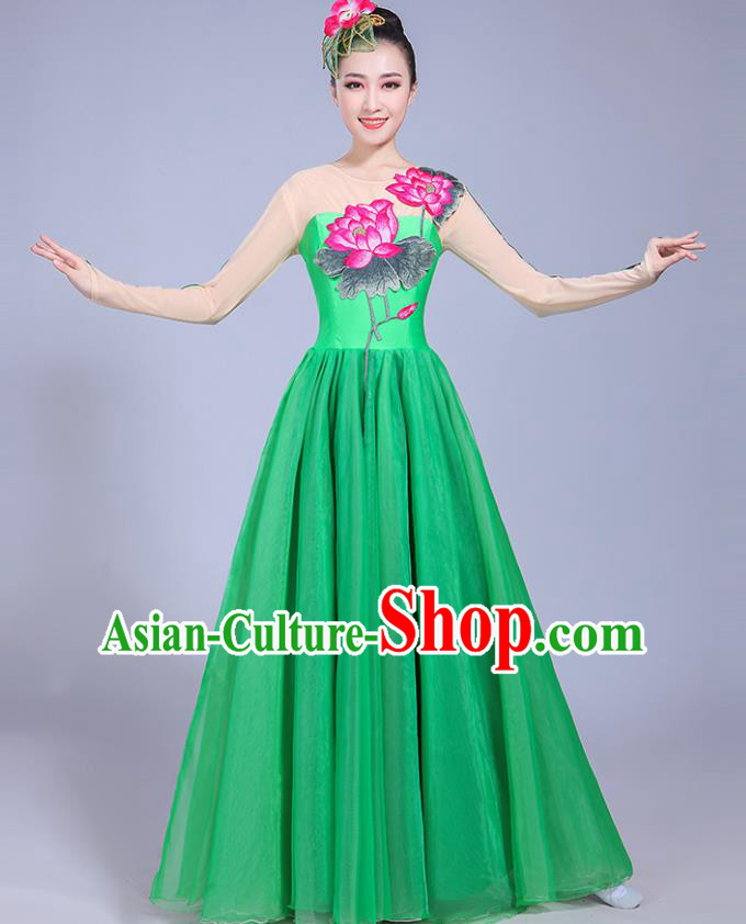 Traditional Chinese Classical Lotus Dance Embroidered Costume, China Yangko Folk Dance Green Dress Clothing for Women