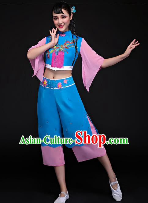 Traditional Chinese Classical Dance Umbrella Dance Embroidered Uniforms, China Folk Dance Yangko Clothing for Women