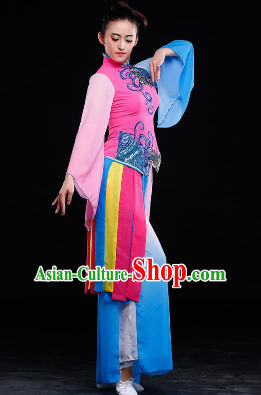 Traditional Chinese Classical Yangge Dance Costume, China Yangko Folk Dance Pink Clothing for Women