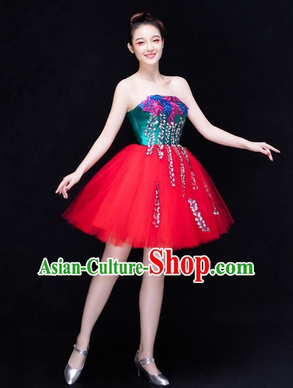 Traditional Chinese Modern Dance Fan Dance Costume, Opening Dance Chorus Red Veil Dress Clothing for Women