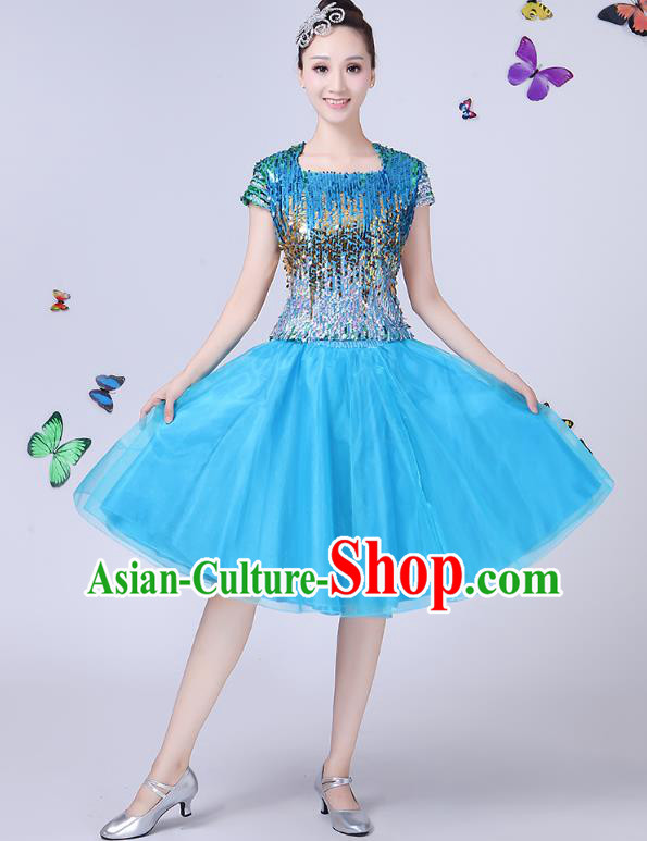 Traditional Chinese Modern Dance Opening Dance Jazz Dance Blue Dress Folk Dance Chorus Costume for Women