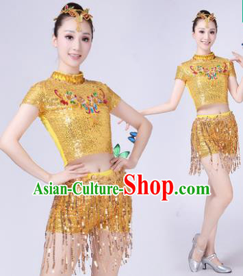 Traditional Chinese Modern Dance Opening Dance Jazz Dance Golden Paillette Uniform Folk Dance Chorus Costume for Women