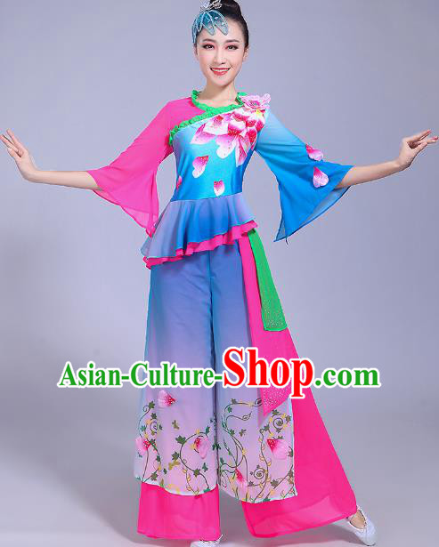 Traditional Chinese Classical Umbrella Dance Costume, China Yangko Folk Dance Yangge Blue Clothing for Women